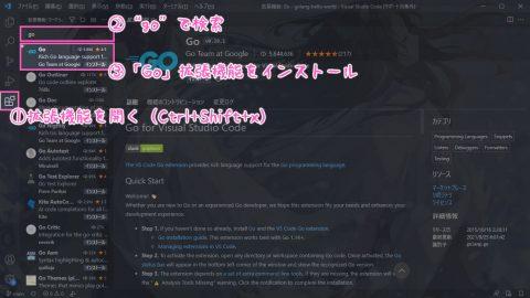 Go拡張機能のインストール